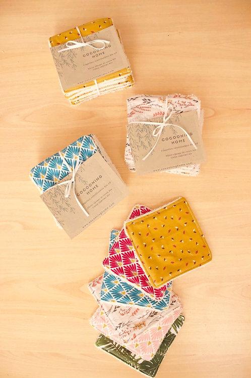 Lingettes démaquillantes lavables x8 - molleton de coton bio