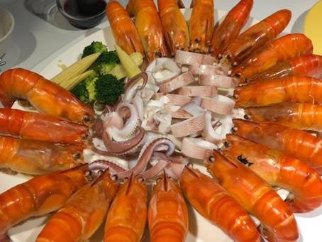 超大泰國蝦+活小卷拼盤😍