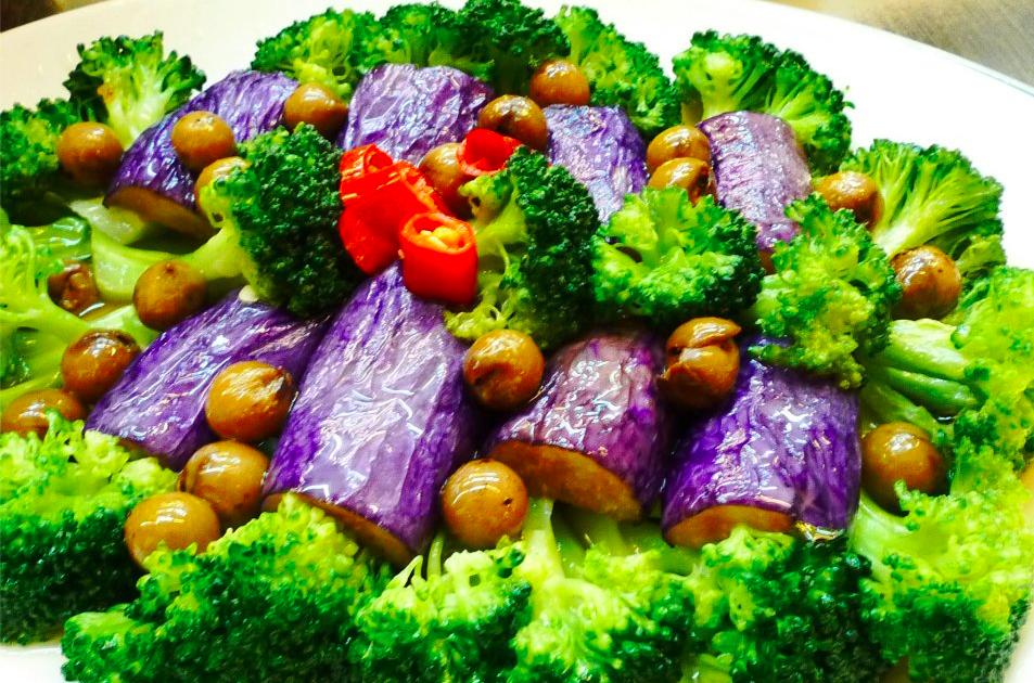 綠花紫茄蔬菜拼盤