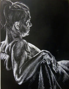 White Conte'on Black Paper, Figure Drawing II