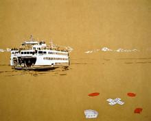"""Ferry acrylic & charcoal on panel 19x24"""""""