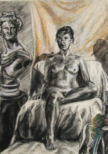 Figure with Interior, Mixed Media on Paper, Figure Drawing