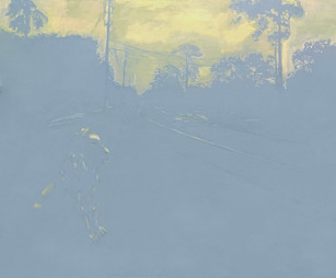 "Whitfield Run Acrylic, Oil & Pencil on Panel 22.5 x 27"" 2021"