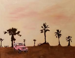 "Honey Moon oil, & stain on panel 25 x 30"""