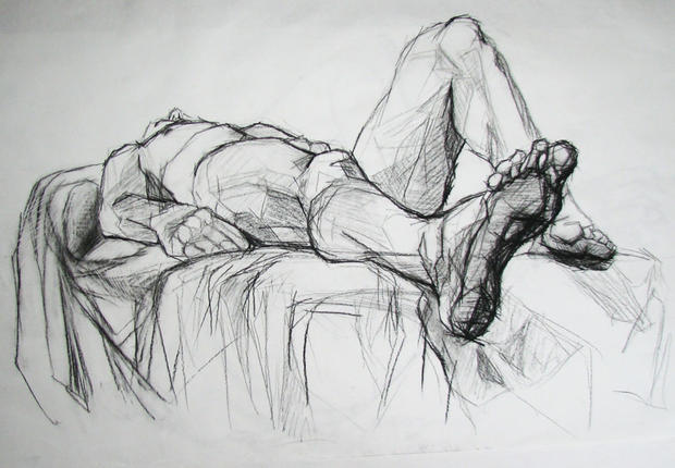 Planar Analysis, Charcoal on Paper, Figure Drawing