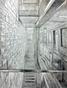 One-Point Perspective, Pencil on Paper, Drawing I