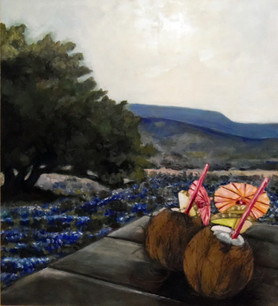 Coconuts & Bluebonnets Oil on Panel