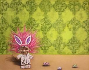"""Confetti Troll oil & colored pencil on panel 22 x 28"""""""