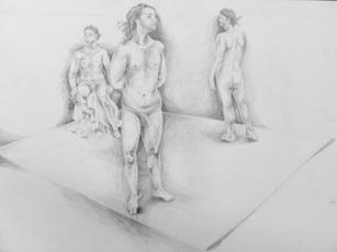 Figure in Space, Pencil on Paper, Figure Drawing