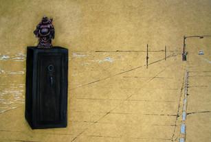 """Buddha on the Sea Wall, charcoal & acrylic on panel, 36x49"""", 2009"""