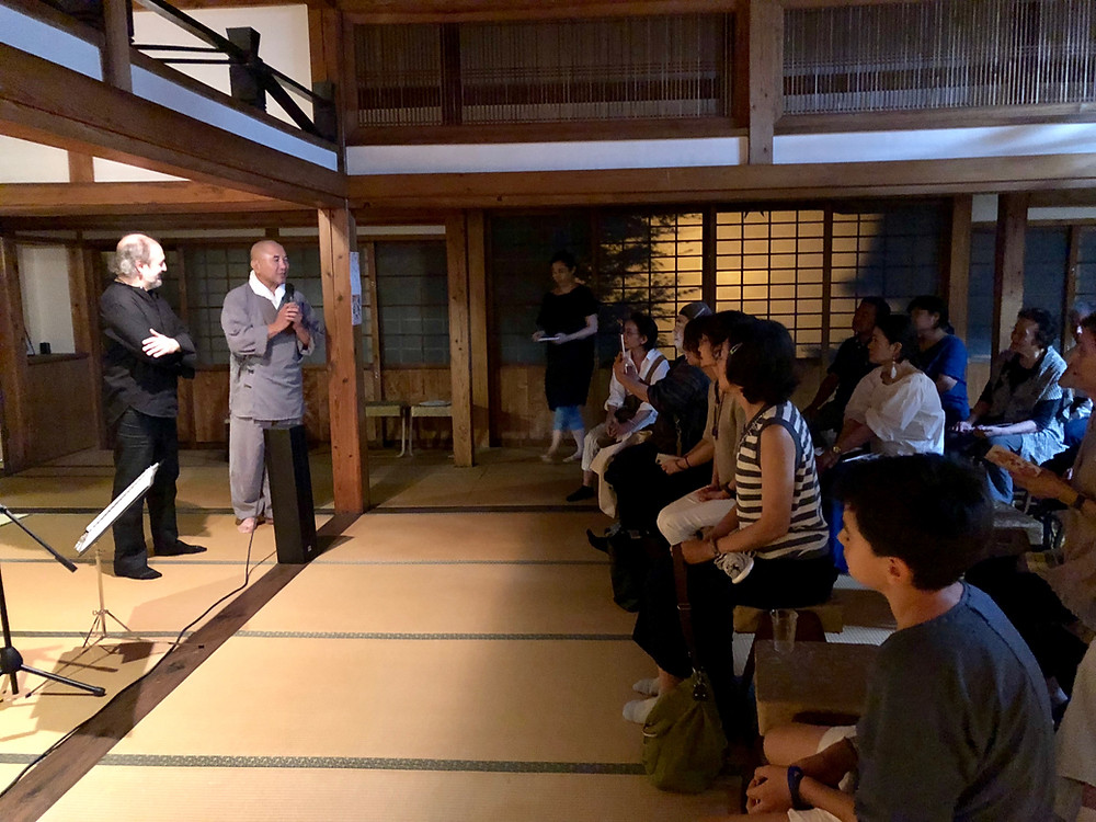 Presentación de mi concierto a cargo de monje Zen, en Templo Zen en Fukuoka, 31 de agosto de 2018