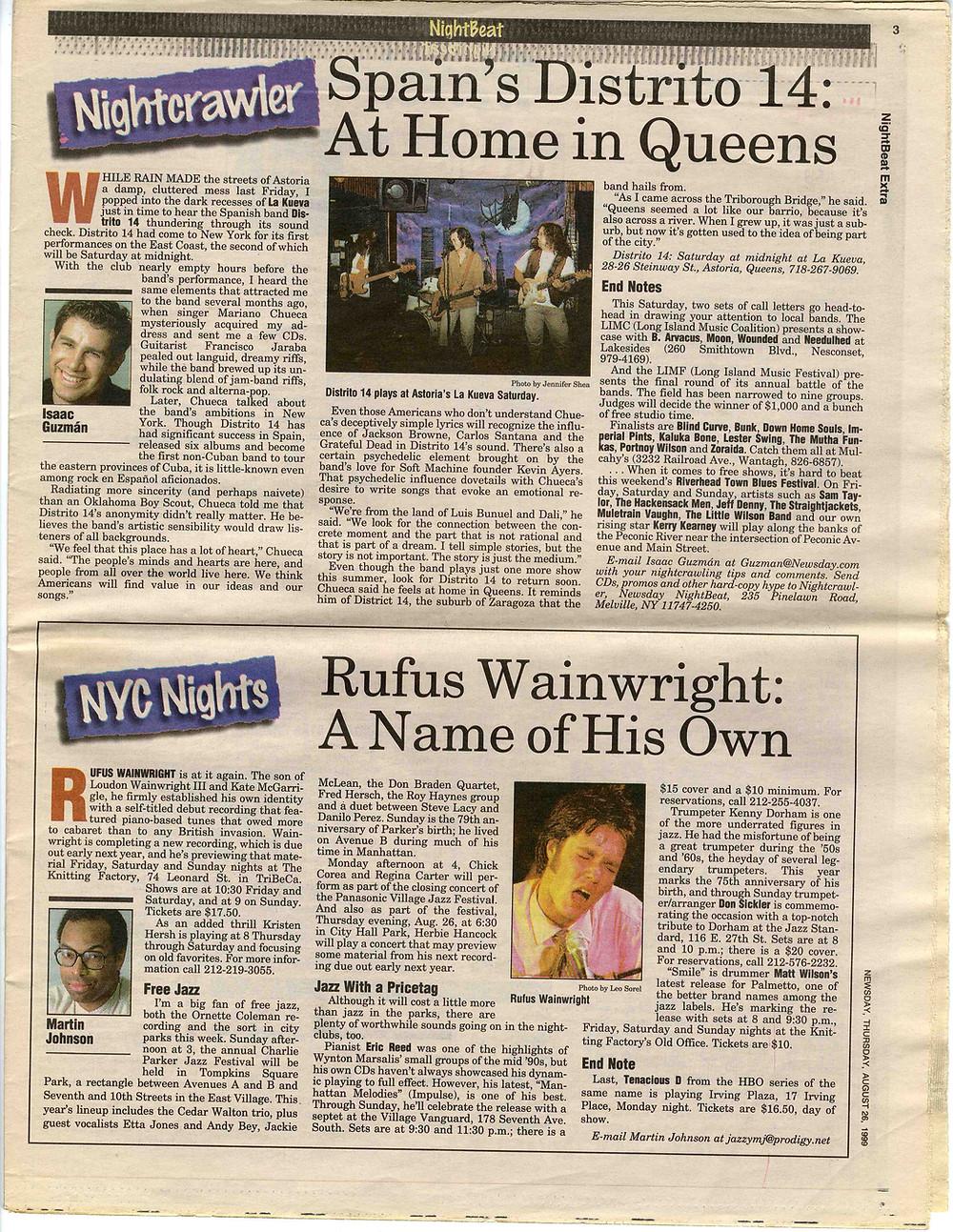Tercera página en diario Newsday (NYC)