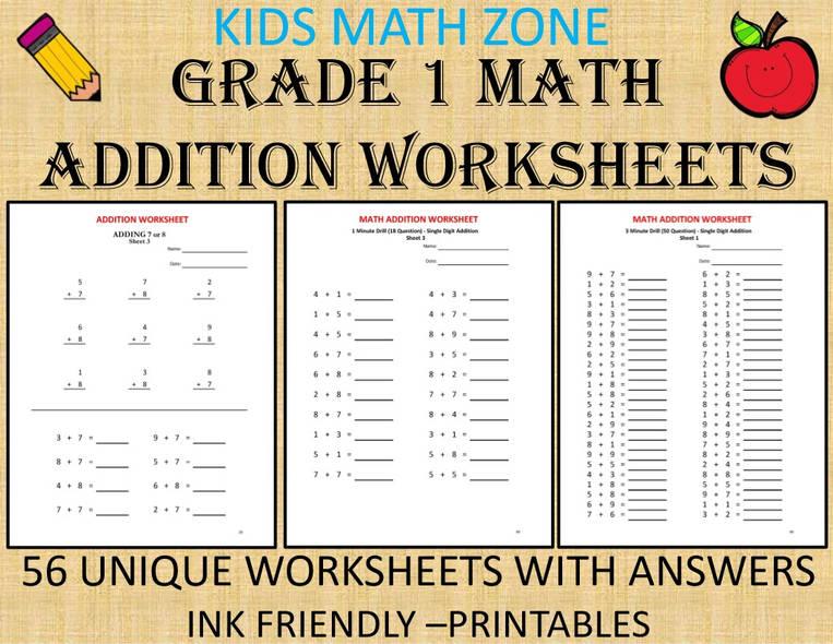 Grade 1 Addition Worksheets