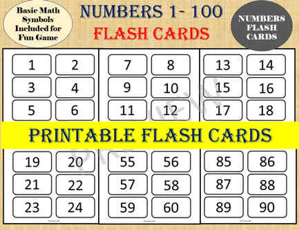 Flash cards Numbers 1 to 100