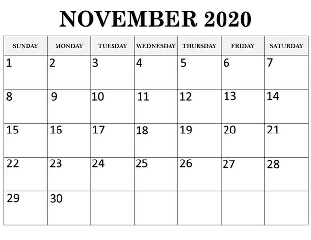 Calendar November 2020
