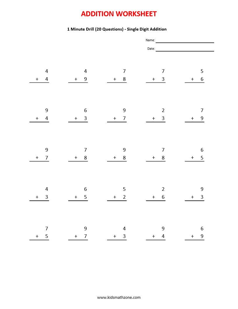 1 Minute Math Drills Addition - Kidz Activities