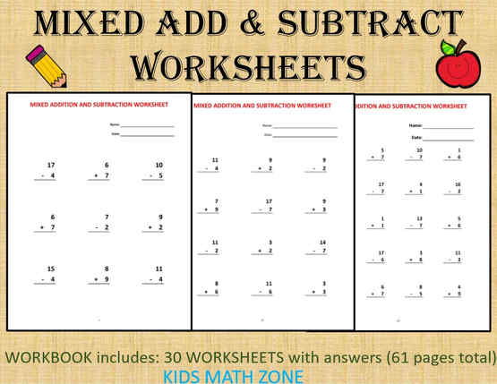 Add and Subtract Worksheets