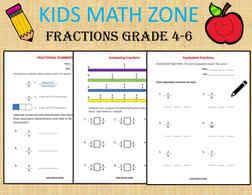 Fraction worksheet, Fractions, Grade 4, Grade 5, Grade 6