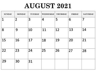 Calendar August 2021