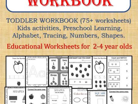 TODDLER WORKBOOK (75+ worksheets), Kids activities, Preschool Learning, Alphabet, Tracing, Numbers