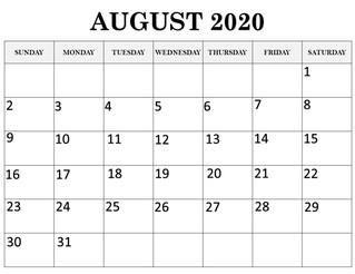 Calendar August 2020