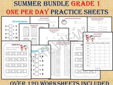 Grade 1 Math   Excited to share this item: SUMMER BUNDLE GRADE 1- one per day