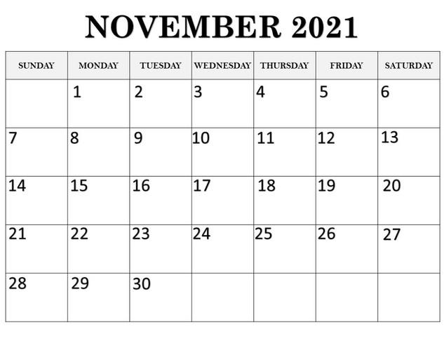 Calendar Novermber 2021