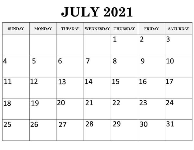 Calendar July 2021