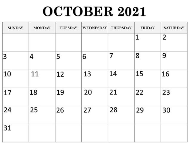 Calendar October 2021