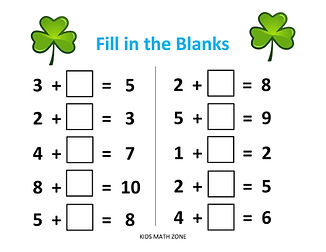 Fill in the blanks Addition C - St. Patr