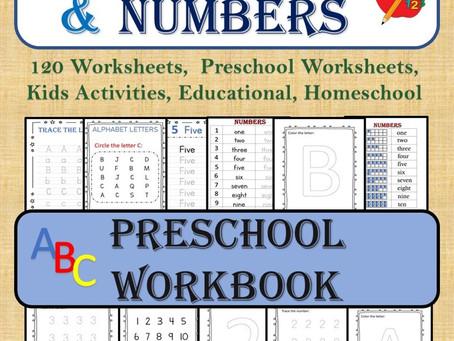 ALPHABET & NUMBERS (120 Worksheets), Preschool Worksheets, Kids Activities, Educational, Homeschool