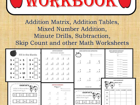 GRADE 1 MATH Workbook (120 Worksheets): Addition Matrix, Addition Tables, Mixed Number Addition