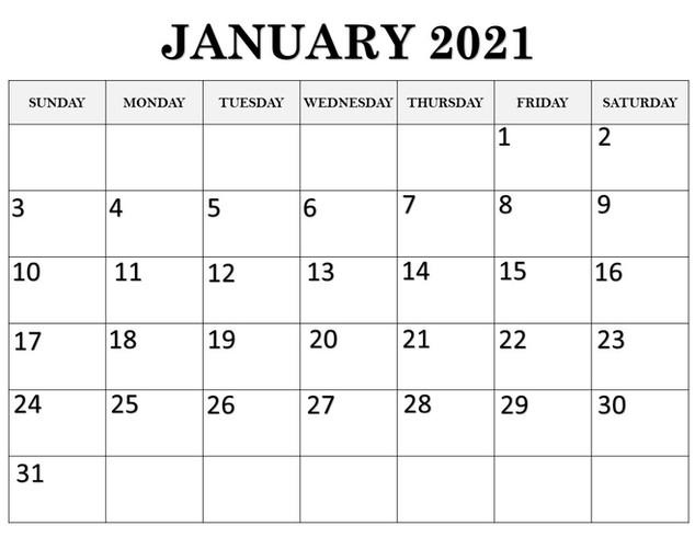 Calendar January 2021