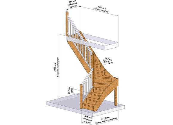 чертеж г-образной лестницы