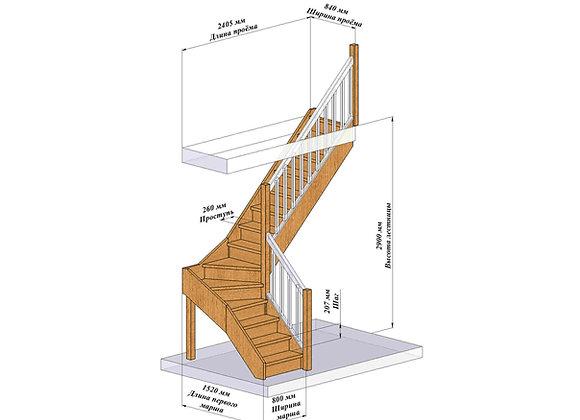 Лестница Г-образная 2900/правая