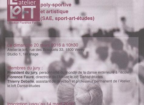 """Audition """"Danse/studies"""", School year 2016-2017, Atelier.le.loft, Vevey, March 20 2016"""