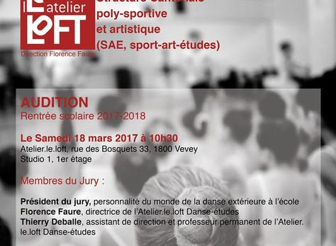 """Audition """"Danse/études"""", rentrée scolaire 2017-2018, Atelier.le.loft, Vevey, 18 mars 2017"""