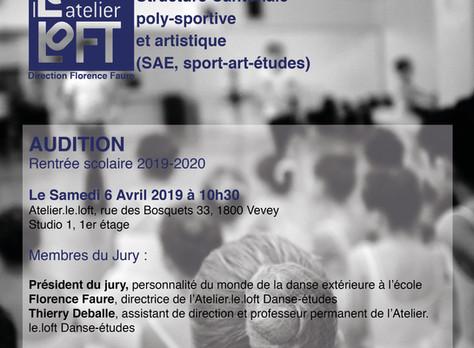 """Audition """"Danse/études"""", rentrée scolaire 2019-2020, Atelier.le.loft, Vevey, 6 avril 2019"""