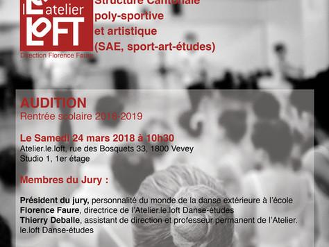 """Audition """"Danse/études"""", rentrée scolaire 2018-2019, Atelier.le.loft, Vevey, 24 mars 2018"""