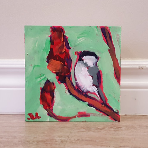 Chickadee on Sumac by Jaime Lee Lightle