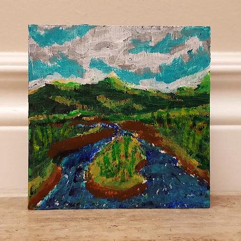 Hill River View from Bridge by James C E Lightle