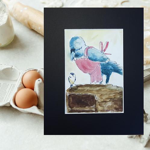 Recipe/Art card: Quick Devil's Food Cake by Jaime Lee Lightle