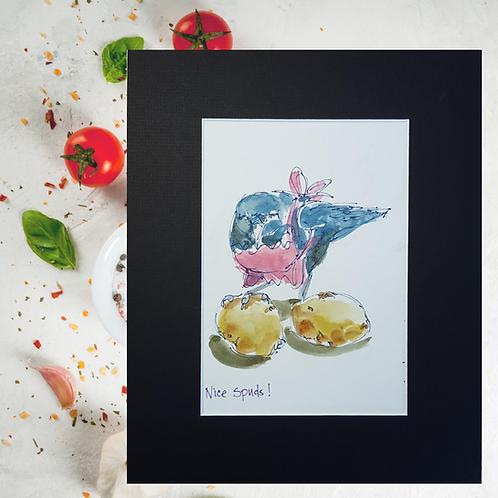 Recipe/Art card: Peppy Potato Salad by Jaime Lee Lightle