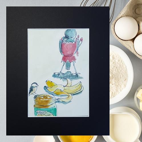 Recipe/Art card: PB, Banana, Choc Chip cookies by Jaime Lee Lightle