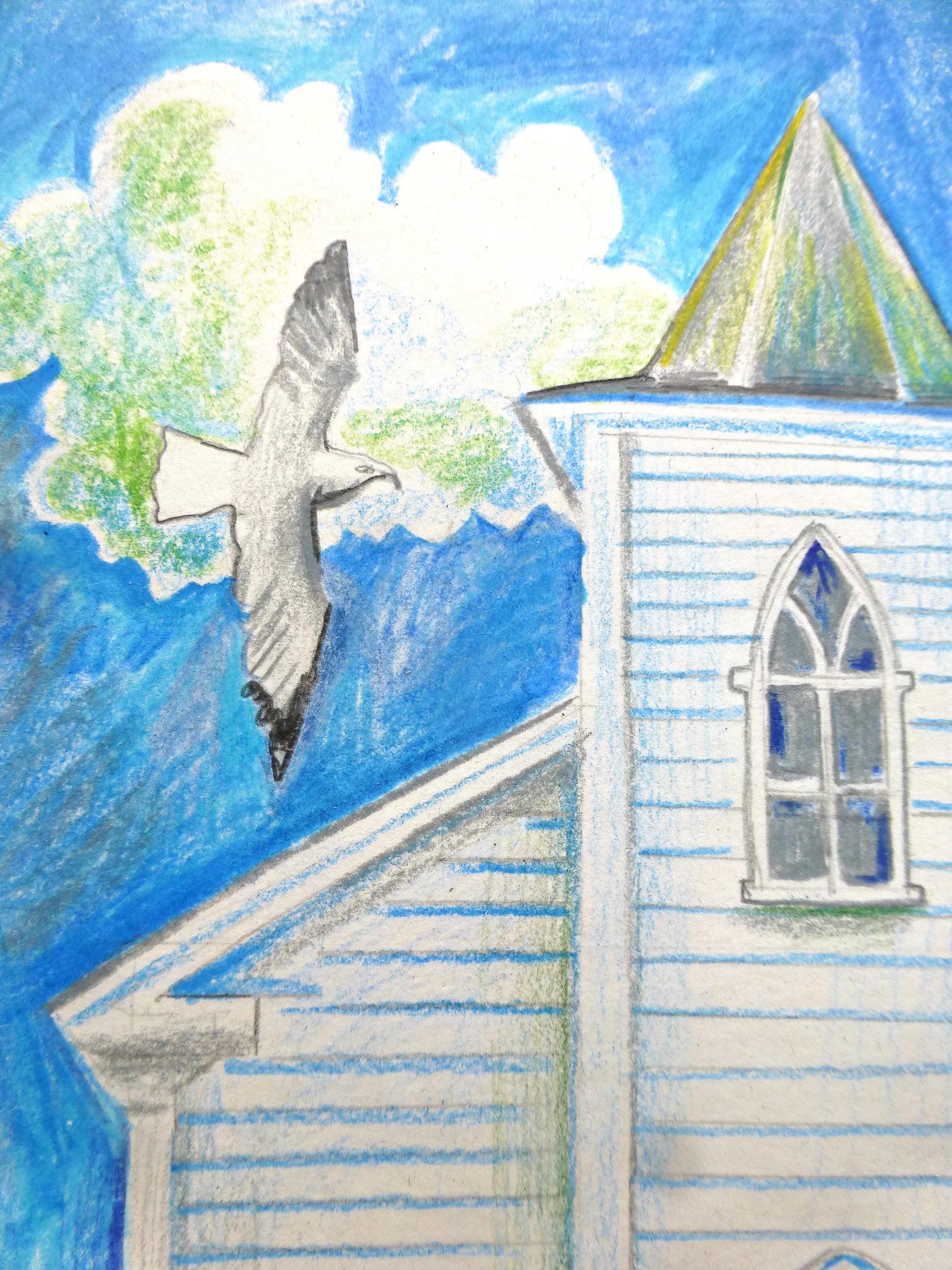 NOVA Goat Island Church colored pencil drawing detail 2