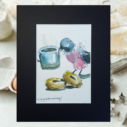 Recipe/Art card: Easy Donuts by Jaime Lee Lightle