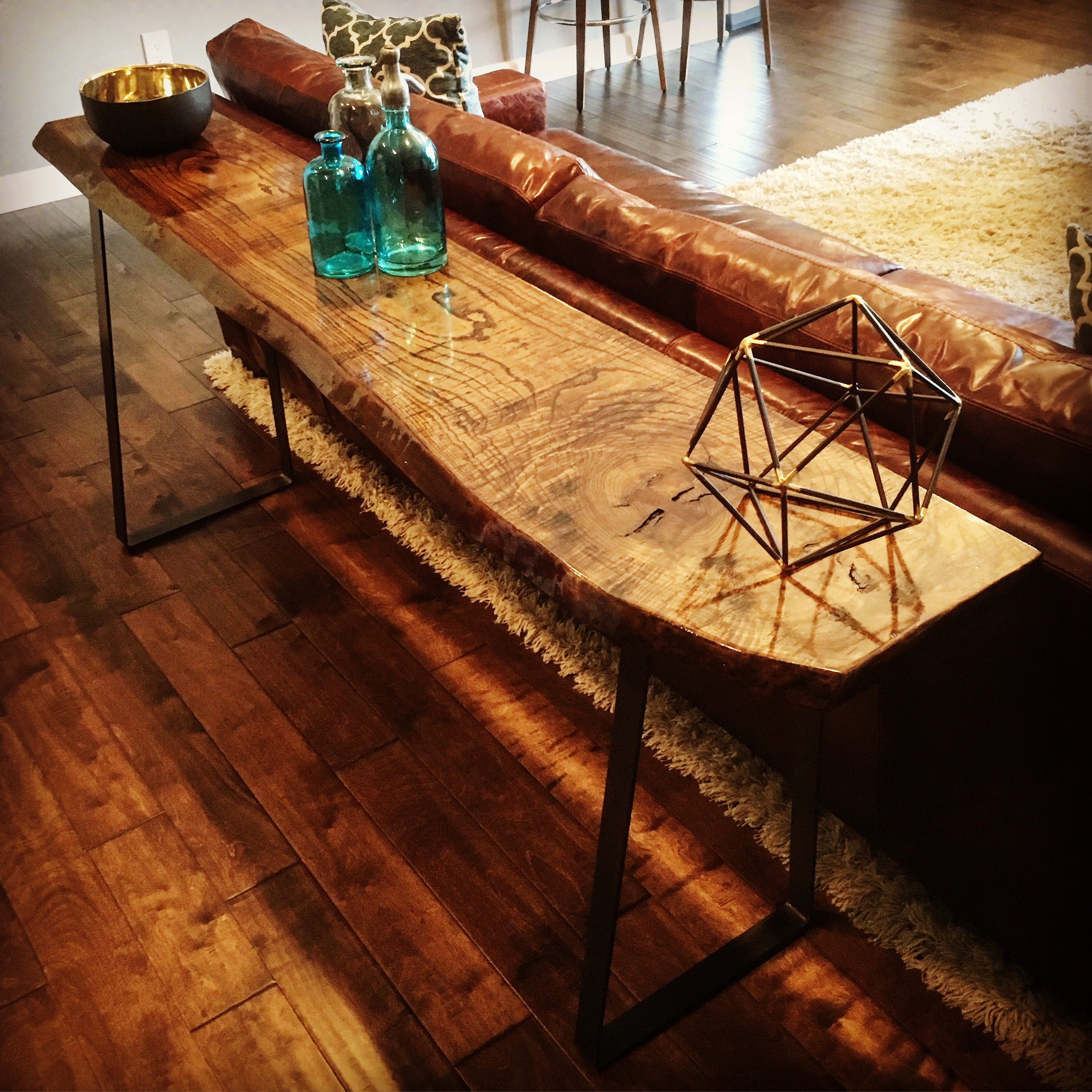 Live Edge Ash Walnut Console Table