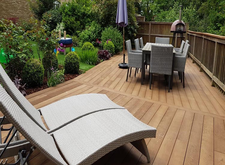 End of garden seating area
