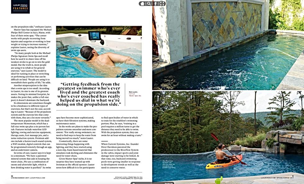 Page 2 Luxury Pools Magazine - Spring / Summer 2017 Swim Spas