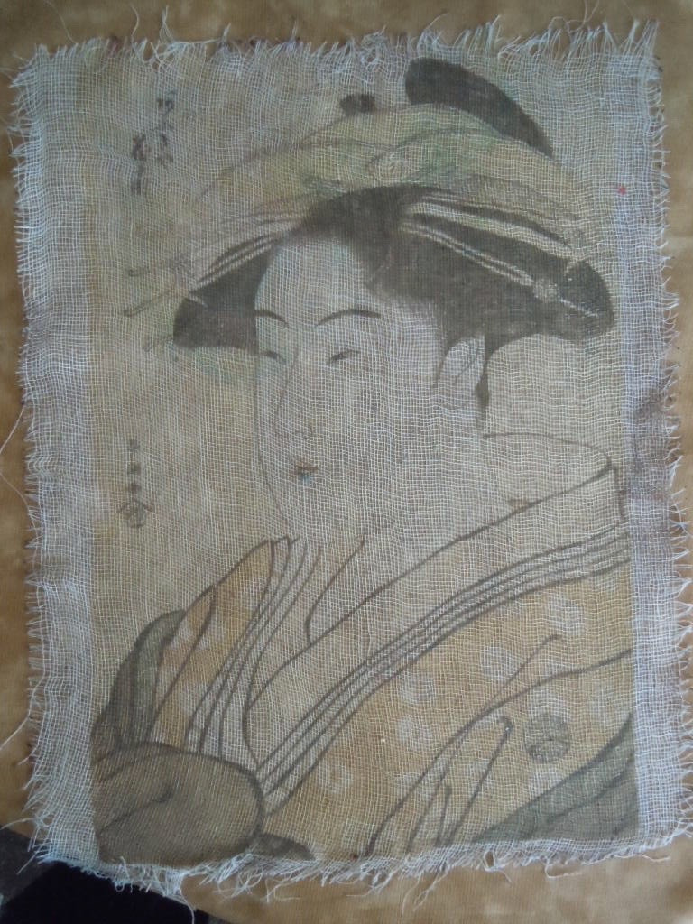 Image printed on cheesecloth.